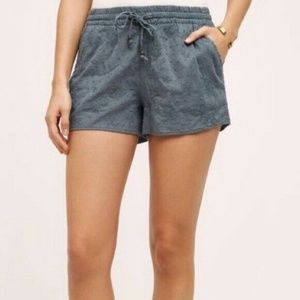 Anthropologie Hei Hei Embroidered Gray Shorts